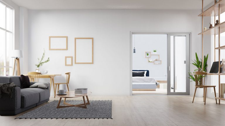 Interior poster mock up living room with colorful white sofa